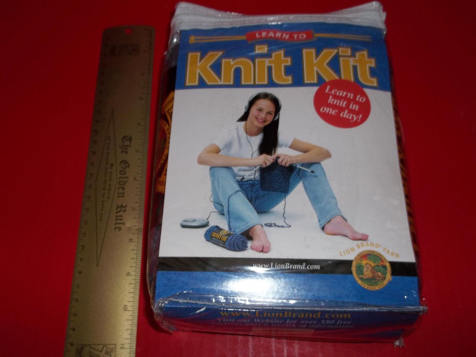 Craft Gift Yarn Activity Kit Learn to Knit Needles Lion Brand Skein Beginner Set - $23.74