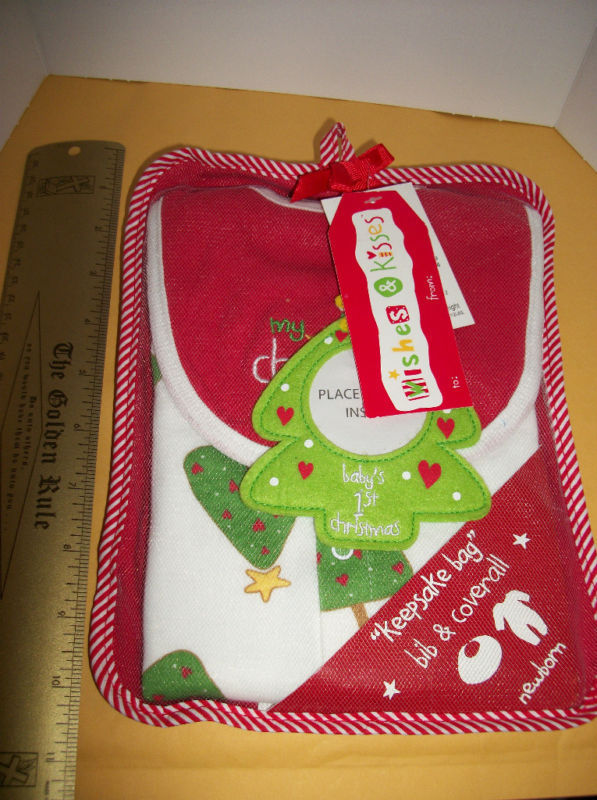 Fashion Holiday Baby Clothes Wishes Kisses Newborn Bib Christmas Tree Ornament - $18.99