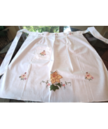 Hand Made White Apron with Yellow Daffodil Machined Embroidery #4439 - $14.99