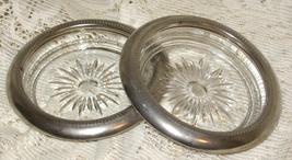 VTG Crystal Sunburst Coasters w/ Leonard Silver Plate Trim-Italy -Set of... - $6.00