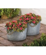 2 Round Bucket Planters Galvanized Metal w/ Rope Handles 1 Large & 1 Small  - $71.23