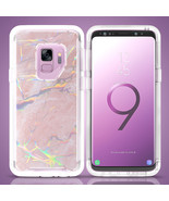 Samsung Galaxy S9 Marble Transparent Defender Armor Hybrid Case Cover - $14.99