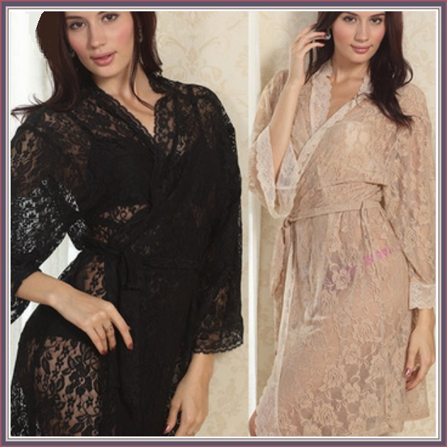 Chiffon Nude or Blace Lace Bathrobe Nightgown Lounger with Tie Sash Belt