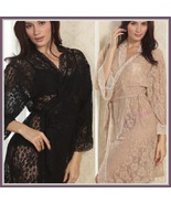 Chiffon Nude or Blace Lace Bathrobe Nightgown Lounger with Tie Sash Belt - $39.95