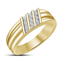 Mens Wedding Anniversary Diamond Ring Band 14k Yellow Gold Over 925 Solid Silver - £67.67 GBP