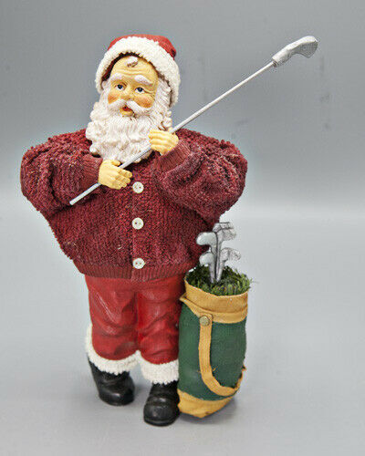Primary image for Fabriche Golfer Santa Figurine with Golf Clubs and Golf Bag Christmas