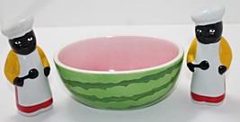 Vintage Black Americana Baker Salt & Pepper Set with Watermelon Sugar Bowl - $15.00