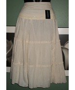 BOHO CHIC Beaded Tiered Ivory Long Skirt NWT $40 - $11.99