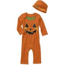 Baby's 2 Piece Halloween Pumpkin Jumpsuit and Hat Set  - $14.00