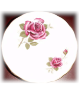 Vintage Royal Kent England  Bome China Saucer Red Roses 1960's - $5.95