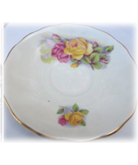 Vintage Royal Kent England  Bome China Saucer Yellow & Red Roses 1960's - $5.95