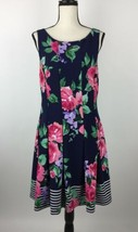 Jessica Howard Womens Dress 14 Blue Floral Fit and Flare Sleeveless B11-09Z - $14.43