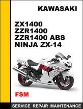Details About  Kawasaki Zx1400 Zzr1400 Abs Ninja Zx14 Factory Repair Manual Acc - $14.95