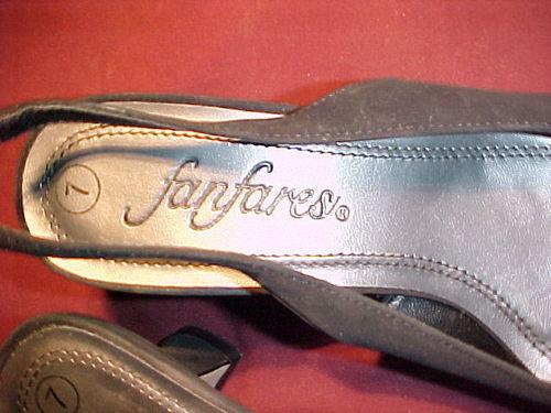 "FANFARES SIZE 7;Black SLINGBACK Heels;ZSA ZSA MODEL;2½"" HEEL;BLACK BEADED TOES"