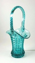 Imperial Glass Waffle Block Basket Vase Teal Vintage Monticello - $25.00