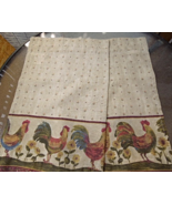 "Pair Cafe Tier Kitchen Curtains 60"" Wx 23"" L Vintage Roosters #5273 - $17.49"