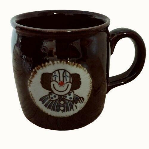 OTAGIRI Clown Medallion Coffee Mug Cup Brown 8 oz Vintage  - $24.08