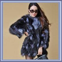 Natural 100% Silver Long Hair Genuine Fox Fur Short Trench Coat Jacket  image 2