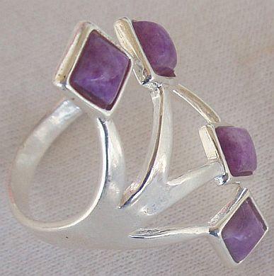 Purple branch silver ring