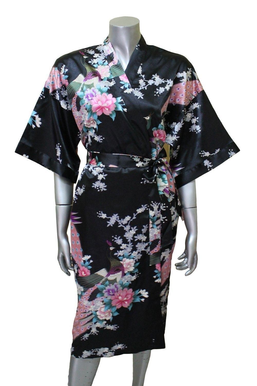 Women Kimono Silk Satin Bath Robe Pajamas Sleepwear