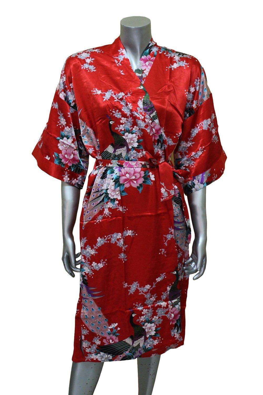 Women S Kimono Silk Satin Bath Robe Pajamas Peacock