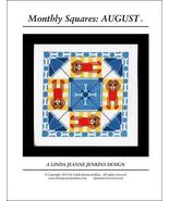 Monthly Squares August cross stitch card chart Linda Jeanne Jenkins - $6.00