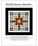 Monthly Squares September cross stitch card chart Linda Jeanne Jenkins - $6.00