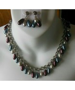 Vintage Pearl Glass Dangle Chain Necklace & Earrings - $74.25