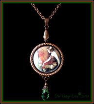 Handcrafted Antiqued Copper/Green 1920's Woman Photo Cameo Necklace - $32.62