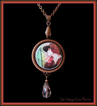 Handcrafted Antiqued Copper/Rose Pink 1920's Woman Photo Cameo Necklace - $32.62