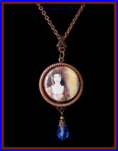 Handcrafted Antiqued Copper 1920's Woman Photo Cameo Necklace - $29.35