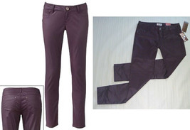 MUDD Skinny Stretch Jeggings-Egyptian Red Maroon Wine-Coated Leather Loo... - $25.71
