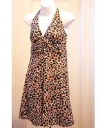 New H&M 8 M Dress Halter Black Brown White Animal Print Babydoll Sundres... - $16.63