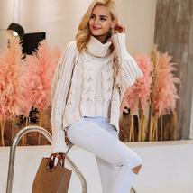 Turtleneck Braided Knitted Oversized Sweater Pullover - $52.06