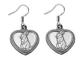 Chinese Rabbit Zodiac PISCES Earrings Real Genuine Solid Sterling silver... - $29.63