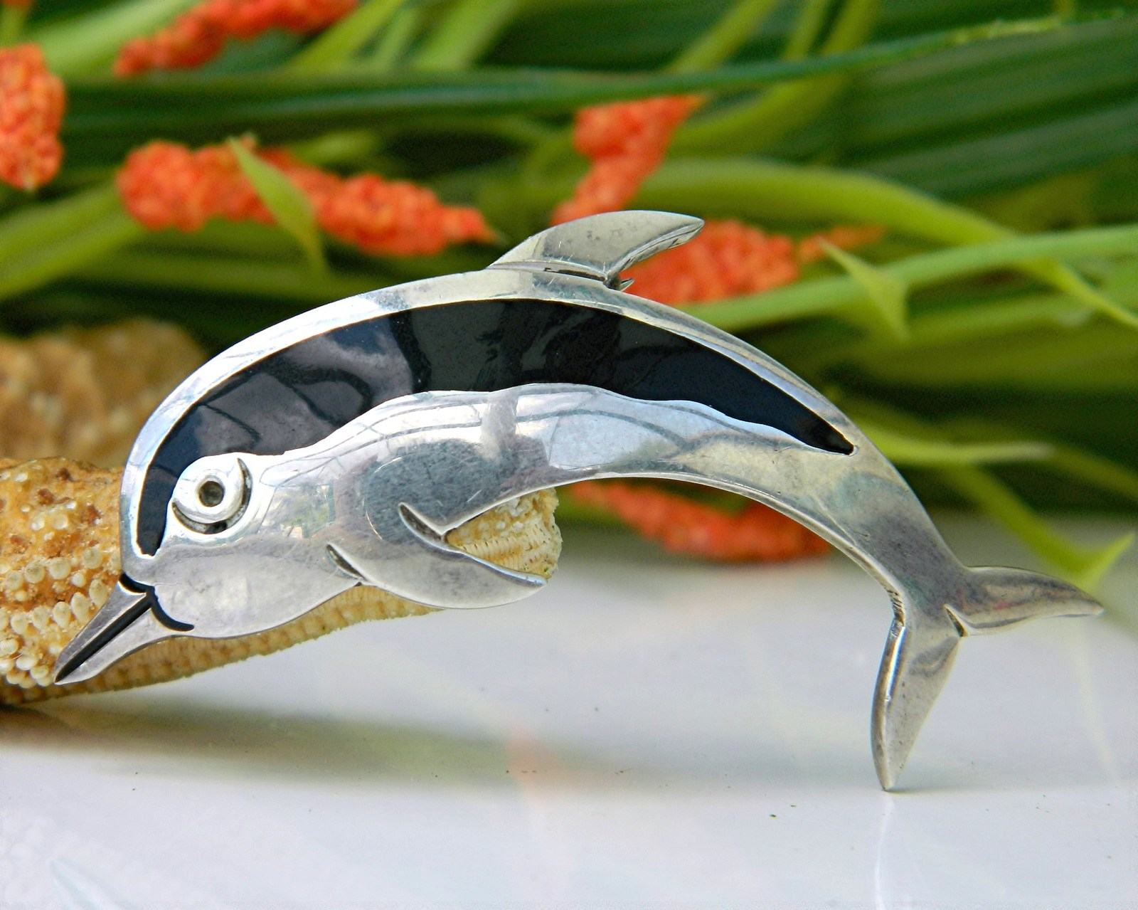 Vintage Dolphin Pin Brooch Taxco Mexico 925 Sterling Silver