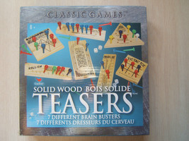 Solid Wood Brain Teasers 7 Different Brain Busters Classic Games by Card... - $7.67