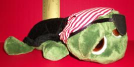 Toy Gift Russ Plush Shecky Green Pirate Turtle Stuffed Animal Bandana Eye Patch - $14.24