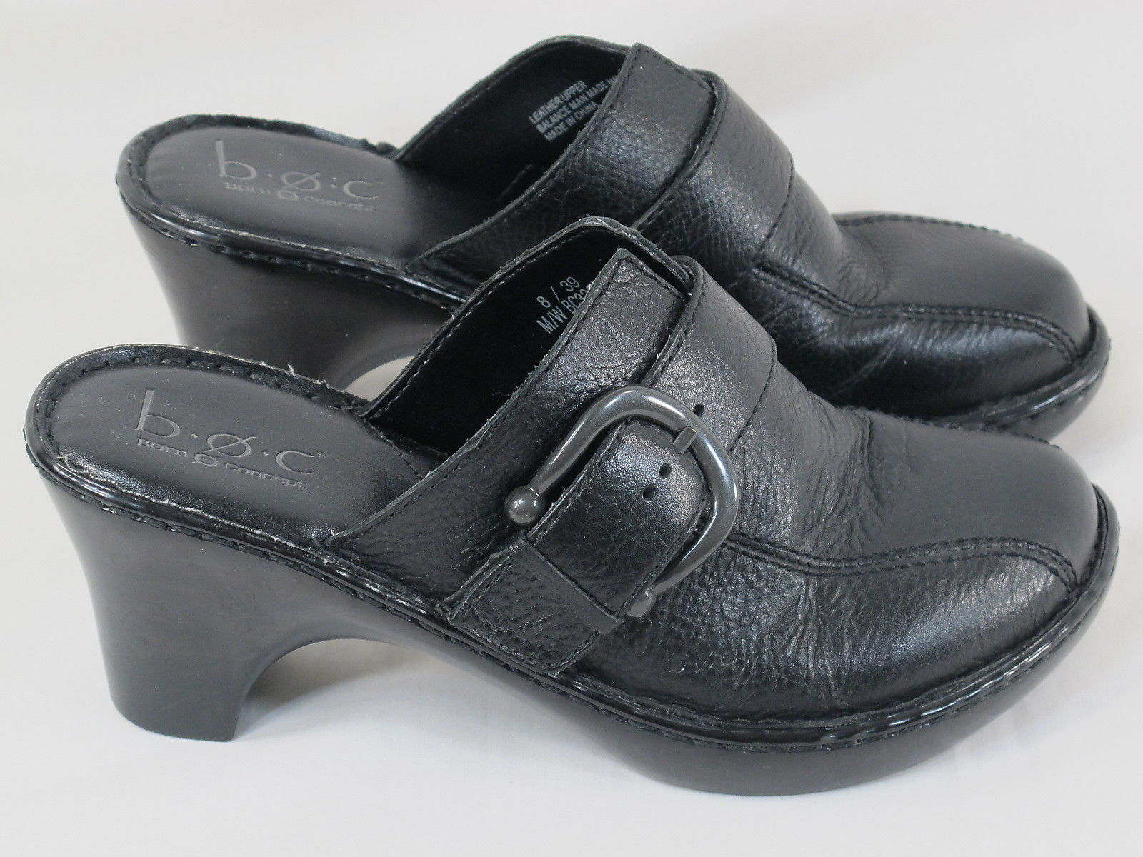 BORN Black Leather Chunky Platform Mules Size 8 M US Excellent Condition - $32.72 CAD