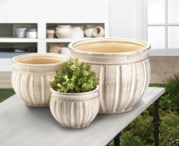 Set of 3 ANTIQUE STONE PLANTERS Indoor Outdoor Ceramic Flower Pots - $44.51