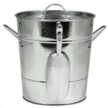 Ice Bucket Metal, Insulated Galvanized Ice Scoop Handle Wine Ice Buckets... - $37.99