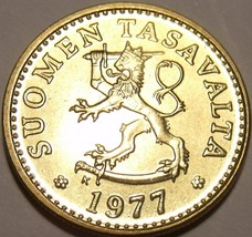 Gem Unc Finland 1977-K 10 Pennia~Awesome Lion~Free Shipping~ - $2.21