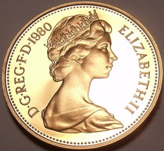 Cameo Proof Great Britain 1980 2 Pence~Welsh Plume~Only 143,000 Minted~F... - $7.50