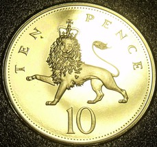 Cameo Proof Great Britain 1990 10 New Pence~Lion Coin~Only 100,000 Minte... - $8.09