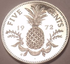 Rare Proof Bahamas 1972 5 Cents~35,000 Minted~Pineapple~Free Shipping - $5.18
