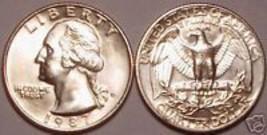 1987-D GEM UNCIRCULATED WASHINGTON QUARTERFREE SH - $3.37