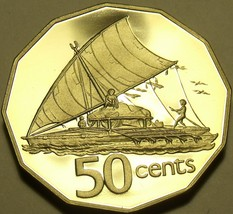 HUGE RARE FIJI 1980 PROOF 50 CENTS~ONLY 2,500 MINTED~SAILBOAT TAKIA~FREE... - $29.35