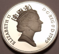 Large Cameo Proof Great Britain 1989 10 Pence~100,000 Minted~Crowned Lio... - $7.78