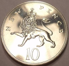 Cameo Proof Great Britain 1982 10 Pence~Only 107,000 Minted~Excellent~Fr... - $7.11