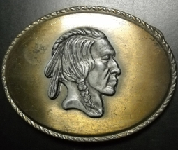 Indian Head Native American Profile Belt Buckle Metal Raised Design Marked W - $8.99